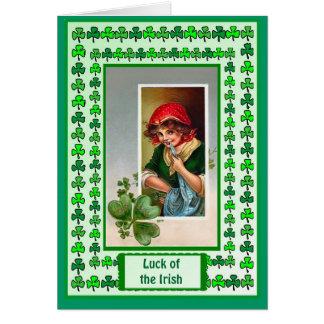 Irish Luck, Irish girl and shamrock Greeting Card