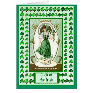 Irish Luck, Irish girl wearing the green Greeting Card
