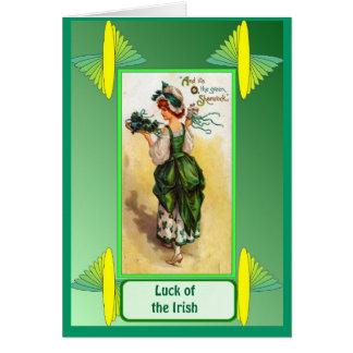 Irish Luck,  Retro Irish Colleen Greeting Card