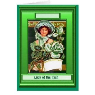 Irish Luck, Retro lady in Green Greeting Card