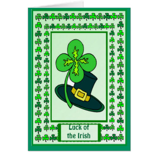Irish Luck, Shamrock in my hat Greeting Card