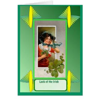 Irish Luck, Shamrocks in the window Greeting Card