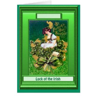 Irish Luck,  Sitting in the shamrocks Greeting Card