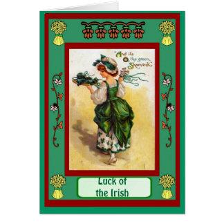 Irish Luck, SPretty Irish colleen Greeting Card