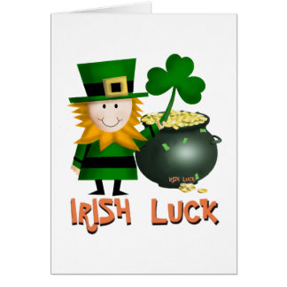 IRISH LUCK, ST PATRICKS LEPRECHAUM SHAMROCK CARD