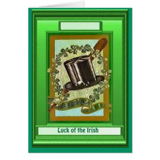 Irish Luck,  Top hat and shamrocks Card