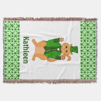 Irish Lucky Cat Leprechaun Shamrock Monogram Name Throw Blanket