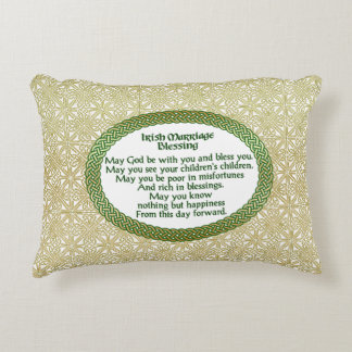 Irish Marriage Blessing, Gold & Green Wedding Decorative Cushion