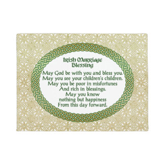 Irish Marriage Blessing, Gold & Green Wedding Doormat
