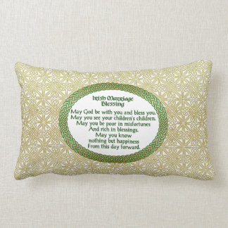 Irish Marriage Blessing, Gold & Green Wedding Lumbar Pillow