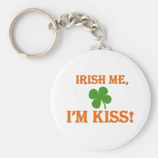 Irish Me I'm Kiss Basic Round Button Key Ring