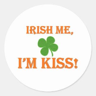 Irish Me I'm Kiss Round Sticker
