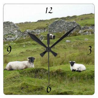 Irish mural clock of sheep