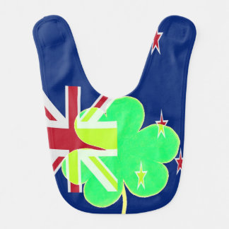 Irish New Zealand Flag Shamrock Clover St. Patrick Bib