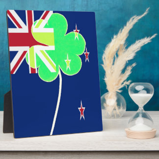 Irish New Zealand Flag Shamrock Clover St. Patrick Plaque