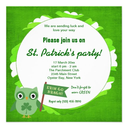 Irish Owl Personalized Invite