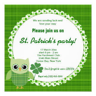 Irish Owl Personalized Announcements