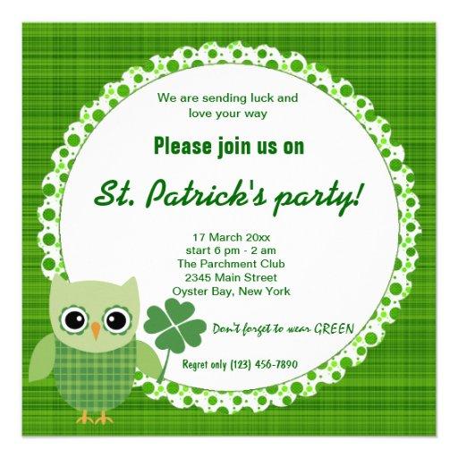 Irish Owl Personalized Announcements
