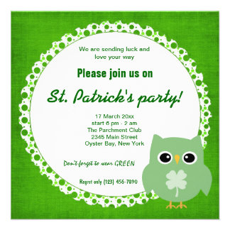Irish Owl Custom Invitations
