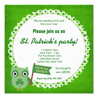 Irish Owl Personalized Invite