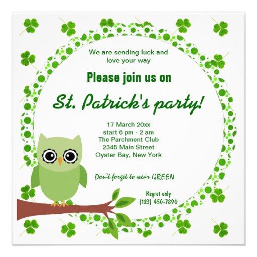 Irish Owl Custom Invitations