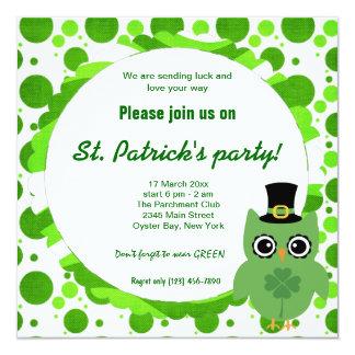 Irish Owl 13 Cm X 13 Cm Square Invitation Card