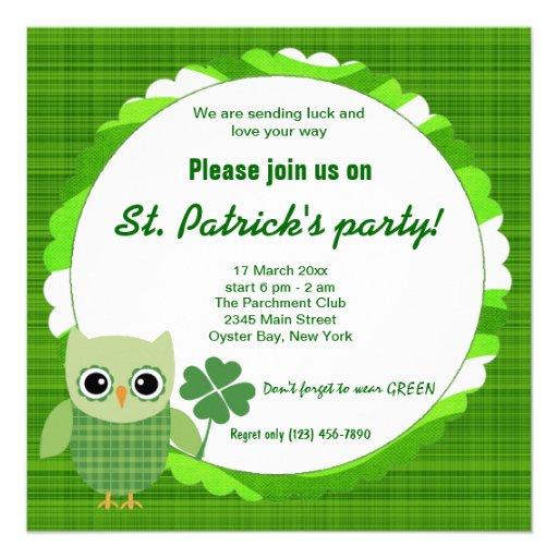 Irish Owl Personalized Invitation