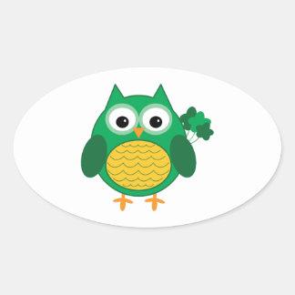 Irish Owl Oval Sticker