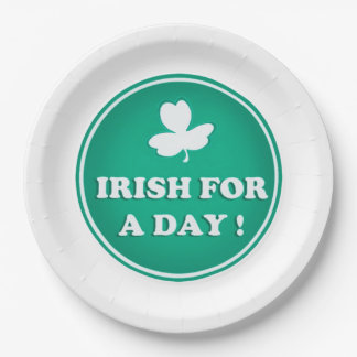IRISH PAPER PLATE, IRISH FOR A DAY, ST PATRICKS PAPER PLATE