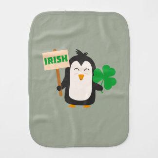 Irish Penguin with shamrock Zjib4 Burp Cloth