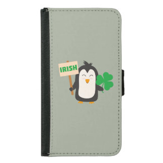 Irish Penguin with shamrock Zjib4 Samsung Galaxy S5 Wallet Case