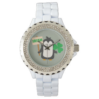 Irish Penguin with shamrock Zjib4 Wrist Watch