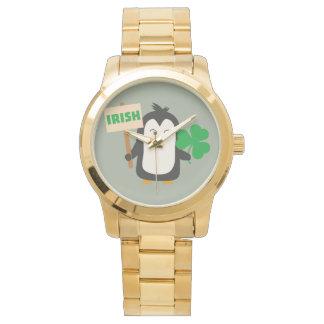 Irish Penguin with shamrock Zjib4 Wrist Watches