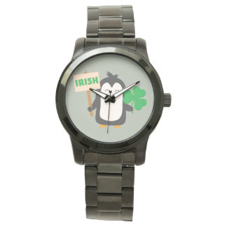 Irish Penguin with shamrock Zjib4 Wristwatch