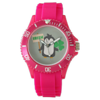 Irish Penguin with shamrock Zjib4 Wristwatches