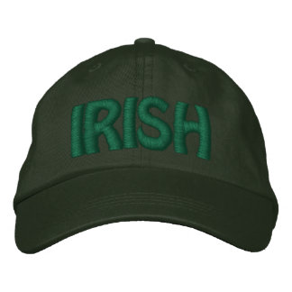 IRISH - Pine Green Hat w/ Green  Stitched Letters Embroidered Baseball Cap
