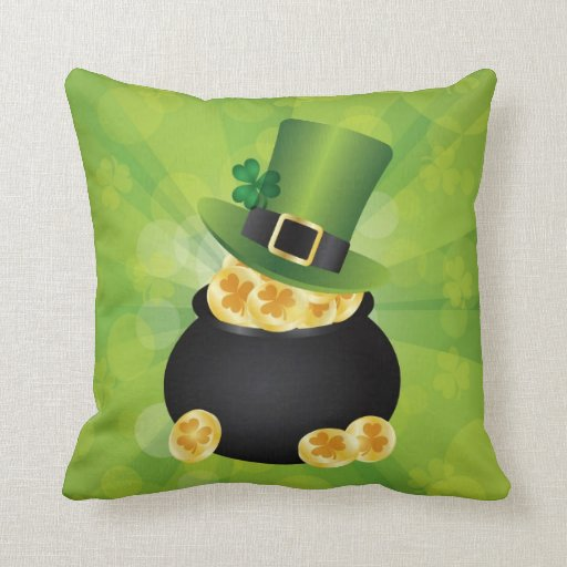 Irish Pot of Gold Coins and Leprechaun Hat Pillow