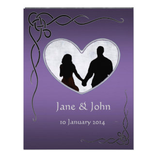 Irish Purple Heart wedding Custom Invitations