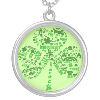 Irish Quotes Shamrock Silver Plated Necklace
