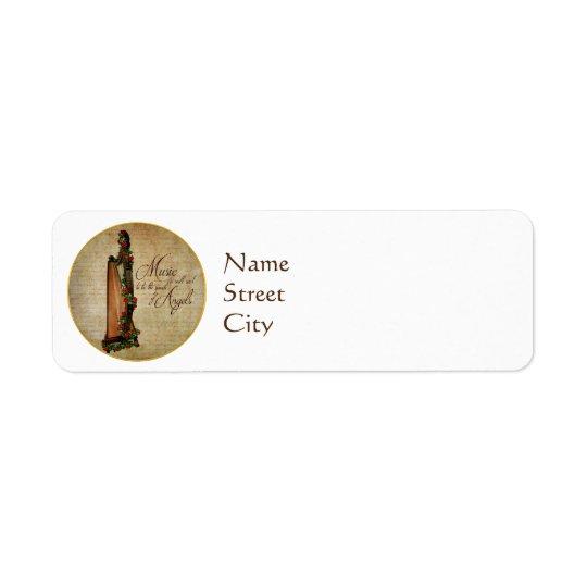 Irish Rose Harp Return Address Labels