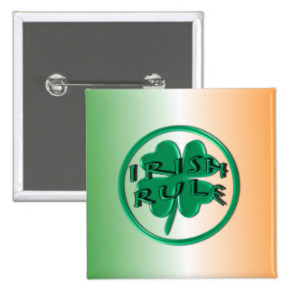 Irish Rule - Ireland Colors and Shamrock Pins