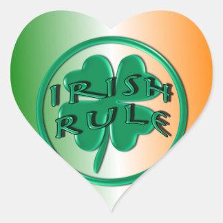 Irish Rule - Ireland Colors and Shamrock Heart Stickers