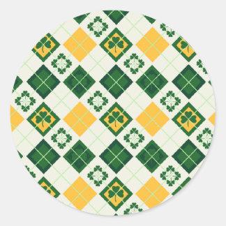 Irish Saint Patrick s Day pattern Round Stickers