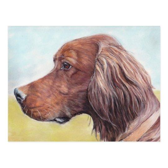 Irish Setter Dog Art Postcard