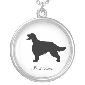 Irish Setter dog black silhouette necklace, gift Silver Plated Necklace