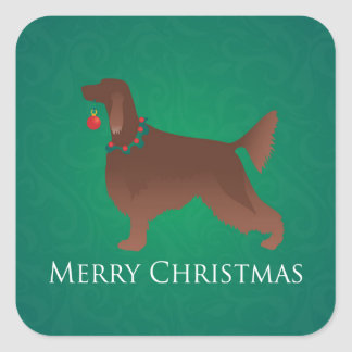 Irish Setter Dog Merry Christmas Design Square Sticker