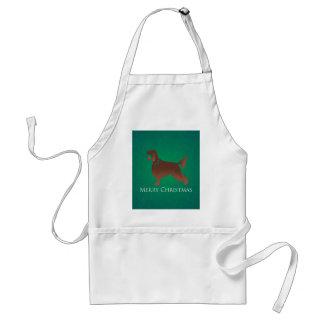 Irish Setter Dog Merry Christmas Design Standard Apron