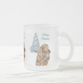 Irish Setter Frosted Glass Coffee Mug