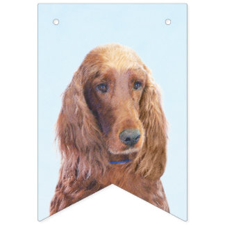 Irish Setter Painting - Cute Original Dog Art Bunting