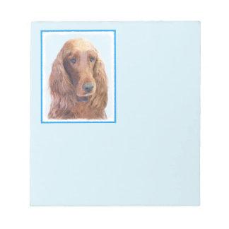 Irish Setter Painting - Cute Original Dog Art Notepad
